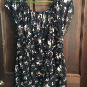 Navy Blue Blouse with Floral Pattern